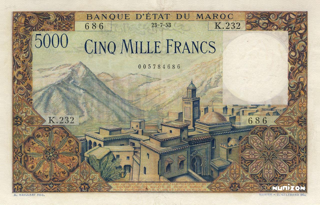 RECTO 5000 francs Type 1951