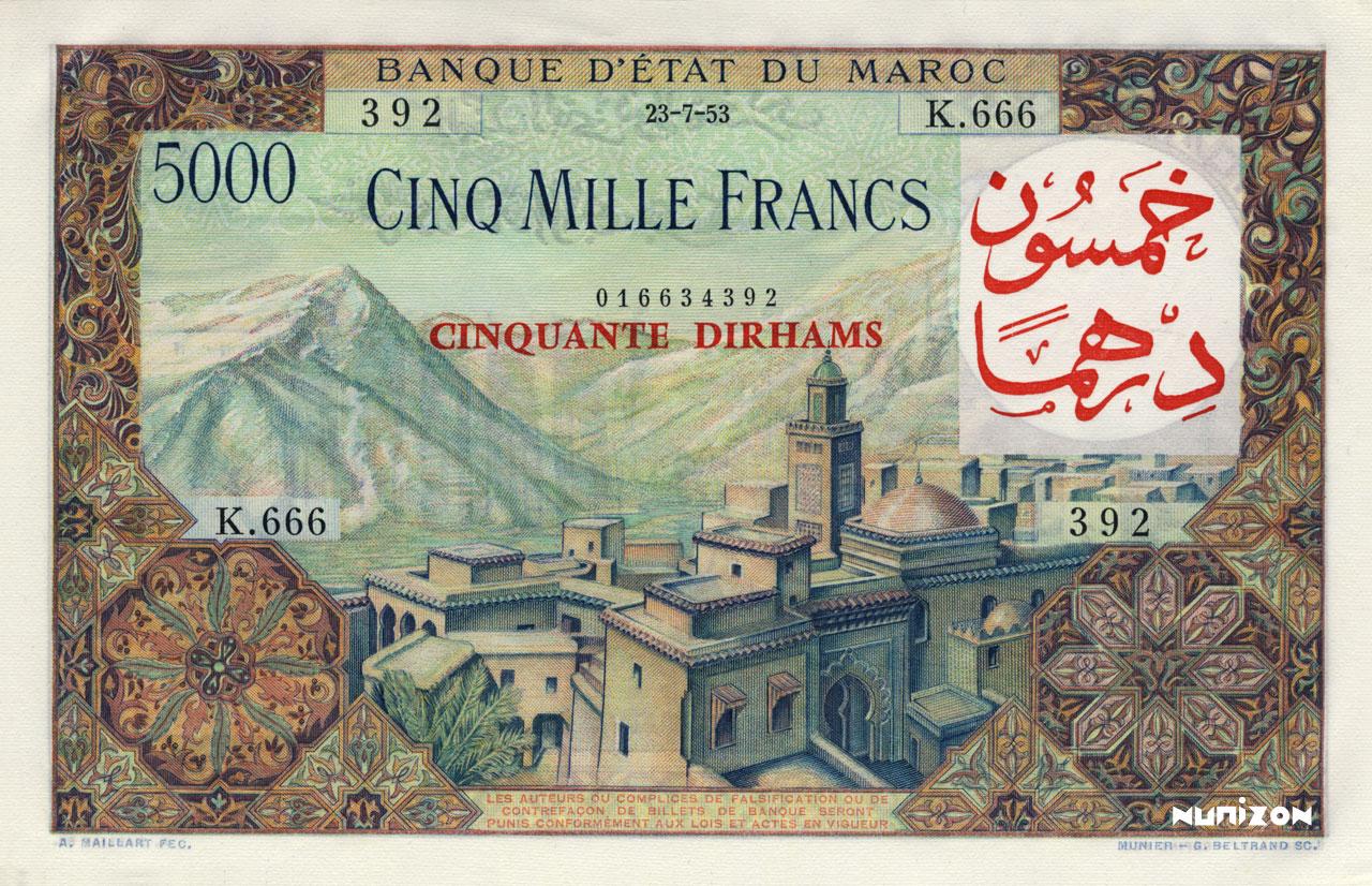 RECTO 50 Dirhams on 5000 francs Type 1959