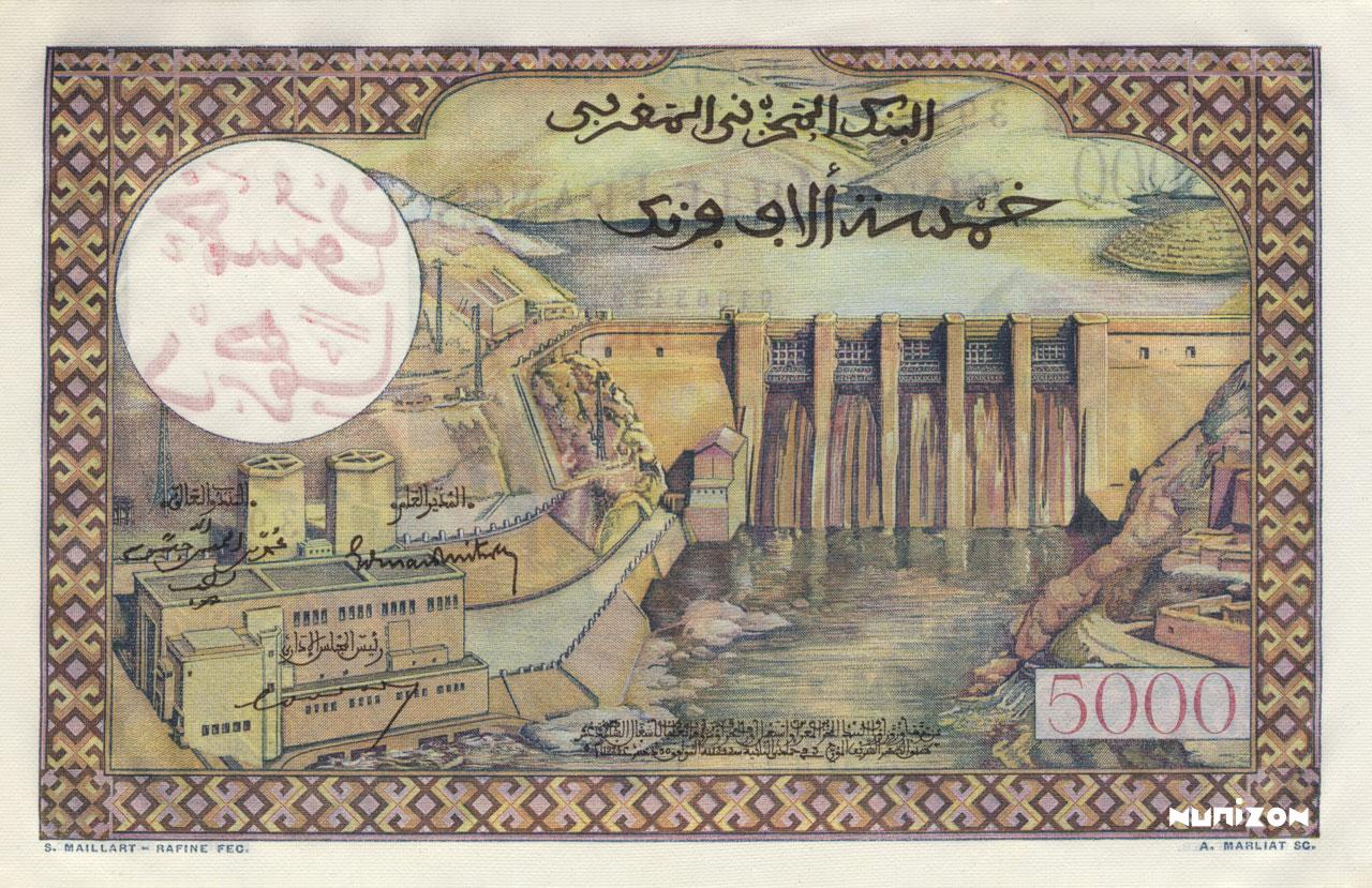 VERSO 50 Dirhams on 5000 francs Type 1959