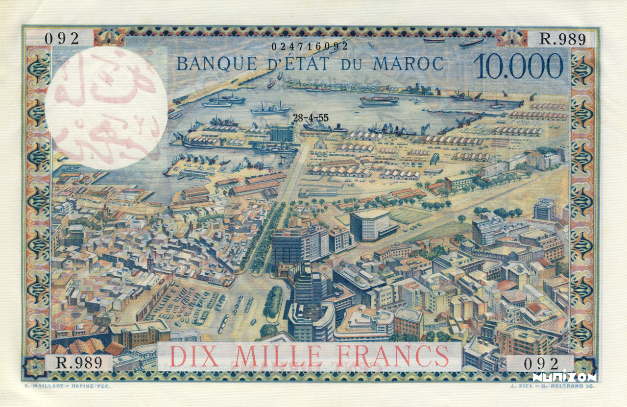 RECTO 100 Dirhams on 10000 francs Type 1959