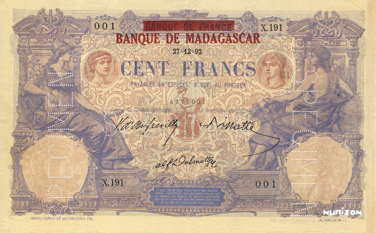 RECTO 100 francs Type 1892 Madagascar