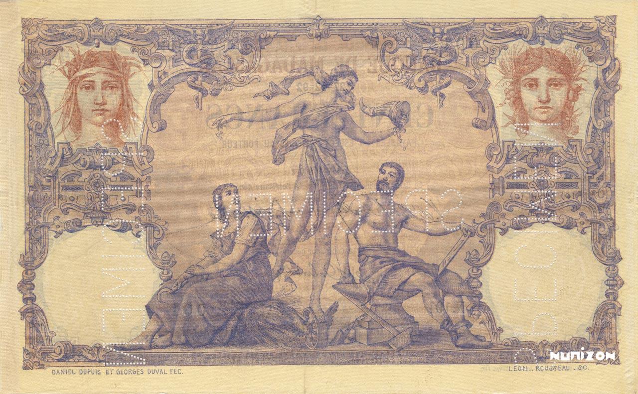 VERSO 100 francs Type 1892 Madagascar