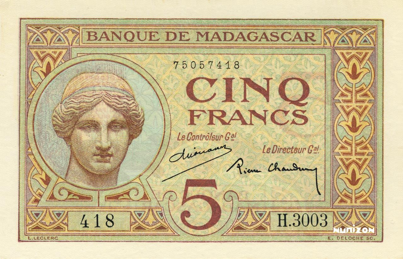 RECTO 5 francs Type 1926 Madagascar