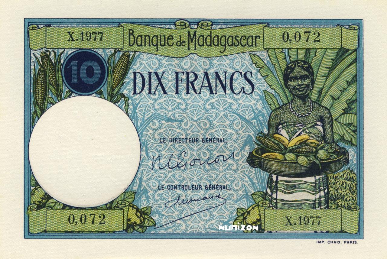 RECTO 10 francs Type 1926 Madagascar