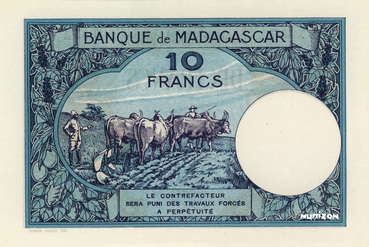 VERSO 10 francs Type 1926 Madagascar