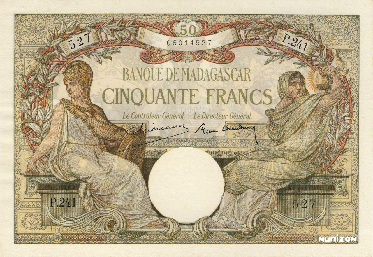 RECTO 50 francs Type 1926 Madagascar