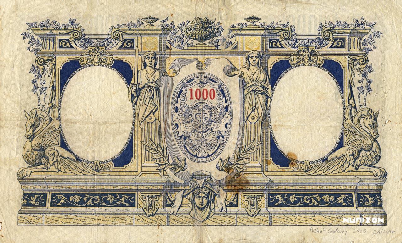 VERSO 1000 francs Type 1926 Madagascar