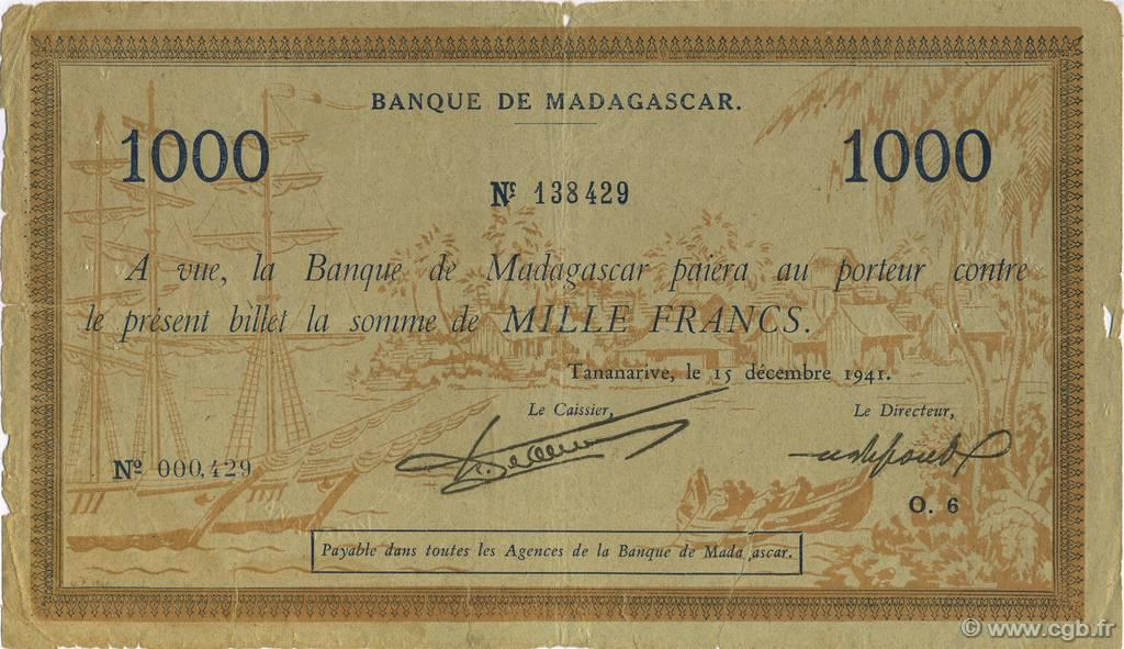 RECTO 1000 francs Type 1941 Madagascar