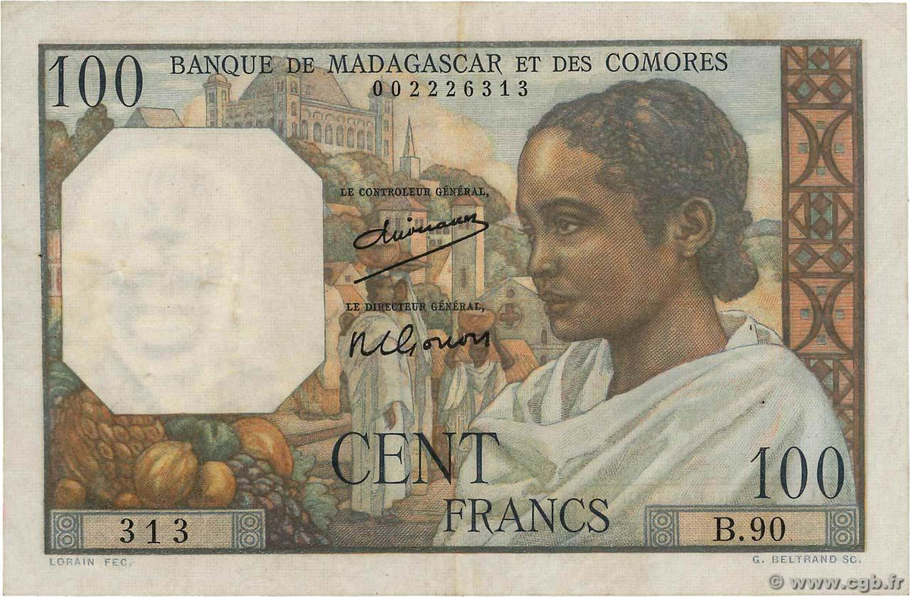 RECTO 100 francs Type 1950 Madagascar and Comoros