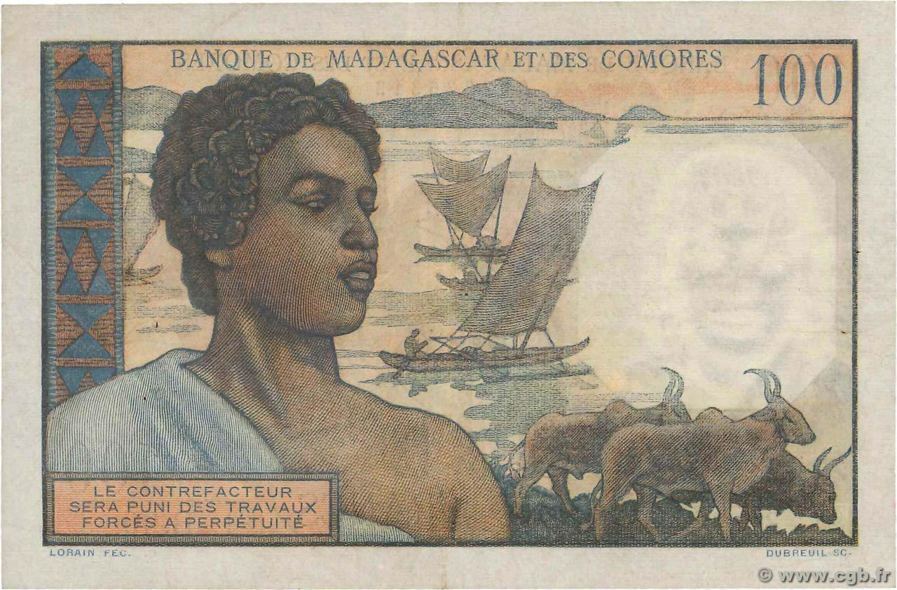 VERSO 100 francs Type 1950 Madagascar and Comoros