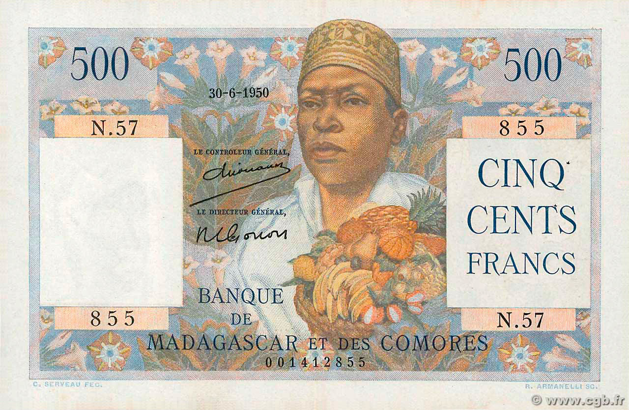 RECTO 500 francs Type 1950 Madagascar and Comoros