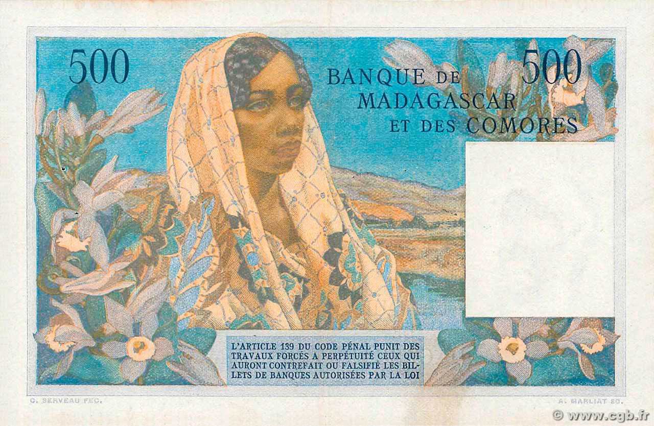 VERSO 500 francs Type 1950 Madagascar and Comoros