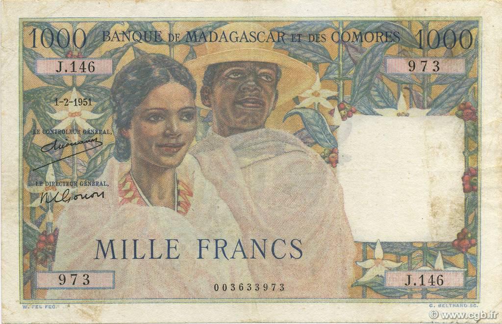 RECTO 1000 francs Type 1950 Madagascar and Comoros