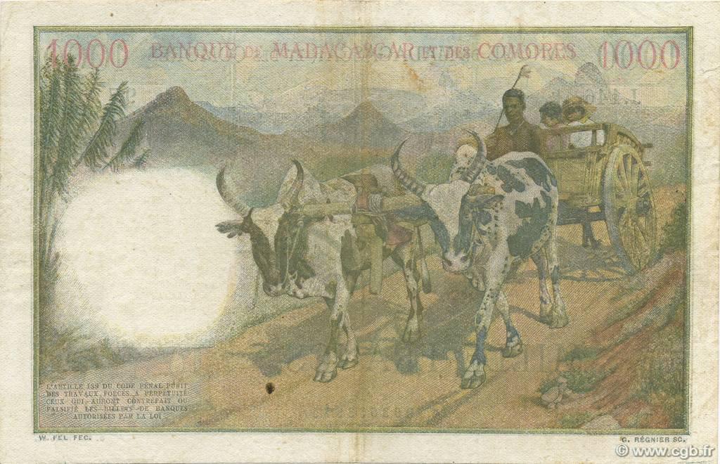 VERSO 1000 francs Type 1950 Madagascar and Comoros