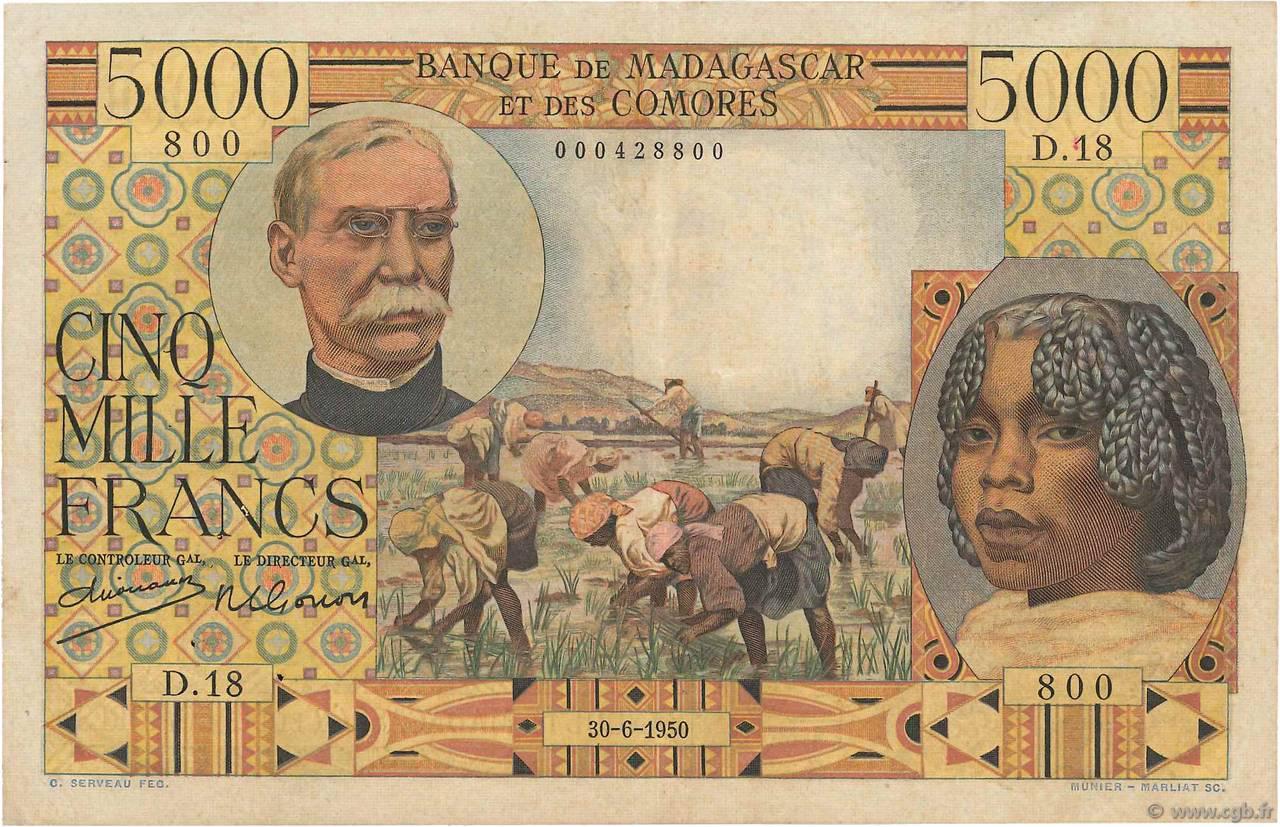 RECTO 5000 francs Type 1950 Madagascar and Comoros