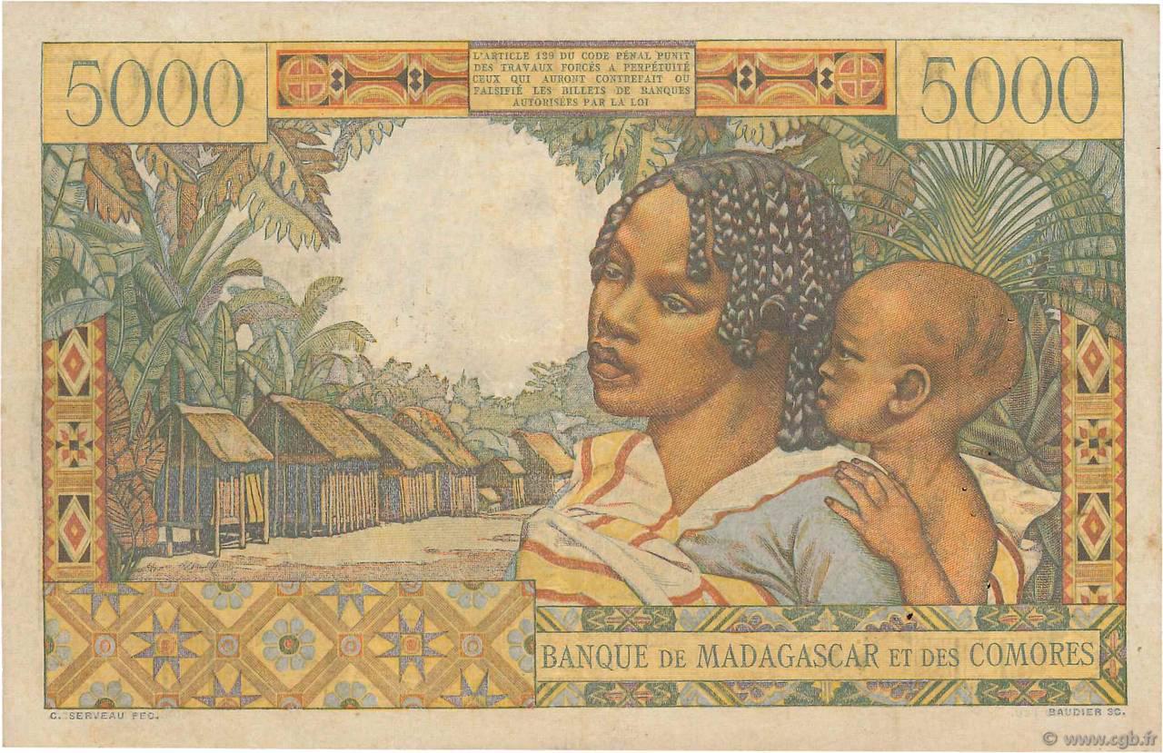 VERSO 5000 francs Type 1950 Madagascar and Comoros