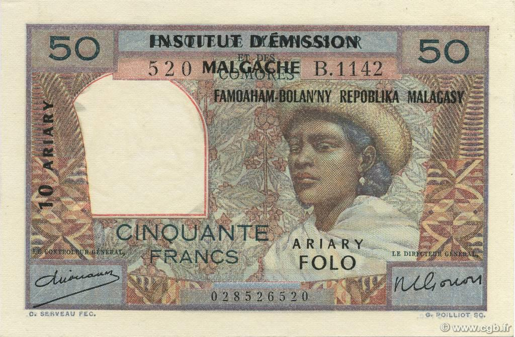 RECTO 50 francs - 10 Ariary Type 1961
