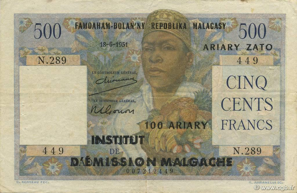 RECTO 500 francs - 100 Ariary Type 1961