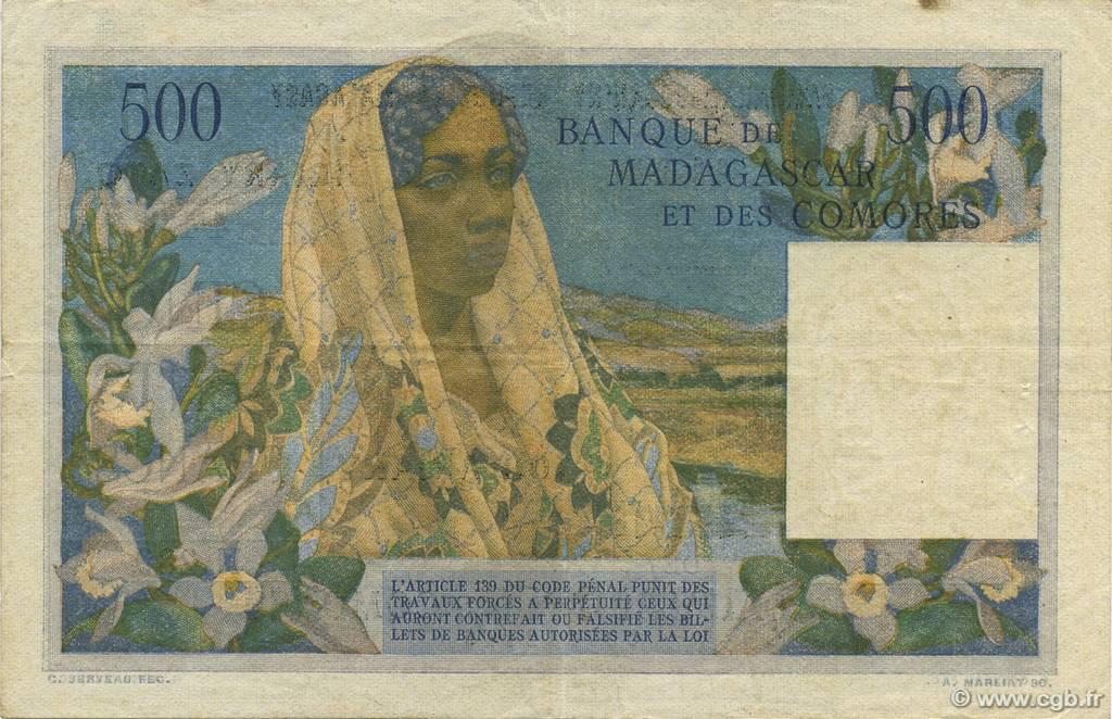 VERSO 500 francs - 100 Ariary Type 1961