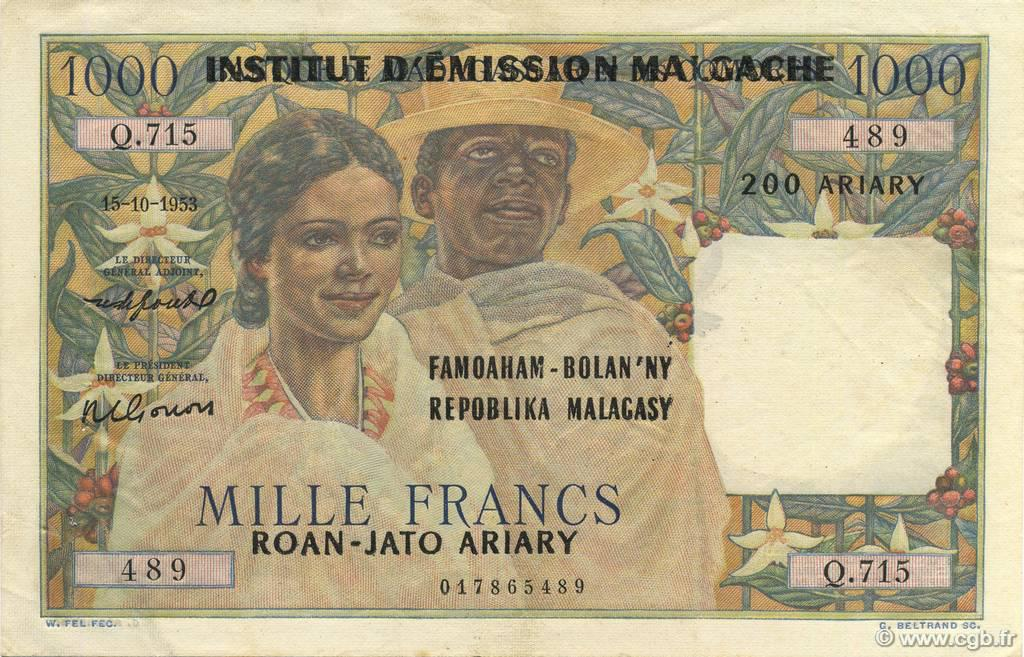RECTO 1000 francs - 200 Ariary Type 1961