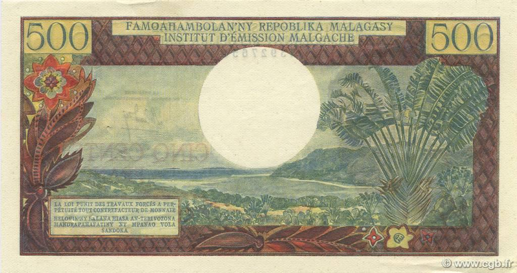 VERSO 500 francs - 100 Ariary Type 1964