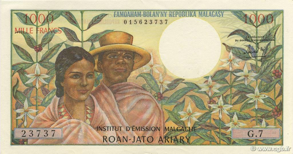 RECTO 1000 francs - 200 Ariary Type 1966