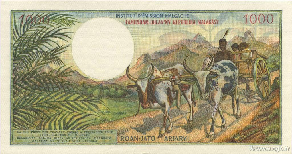 VERSO 1000 francs - 200 Ariary Type 1966