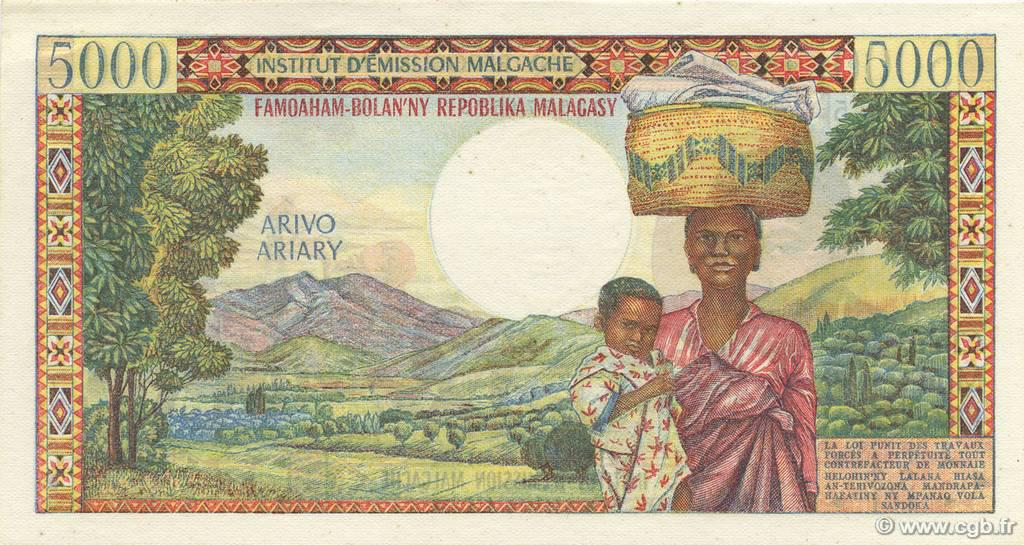 VERSO 5000 francs - 1000 Ariary Type 1966