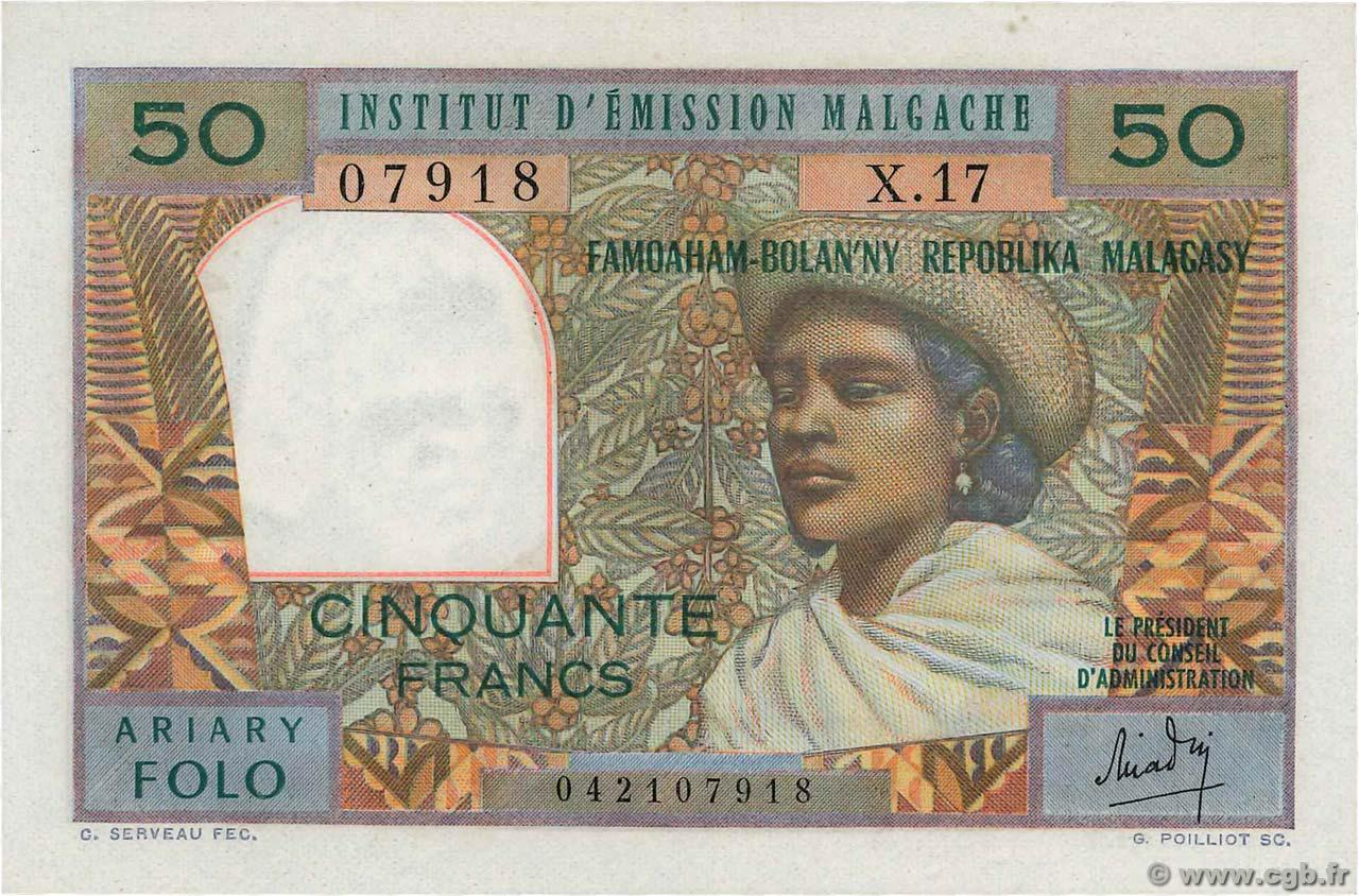 RECTO 50 francs - 10 Ariary Type 1962