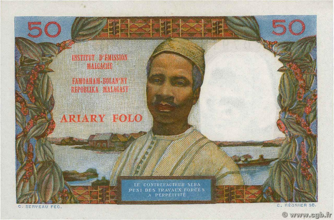 VERSO 50 francs - 10 Ariary Type 1962
