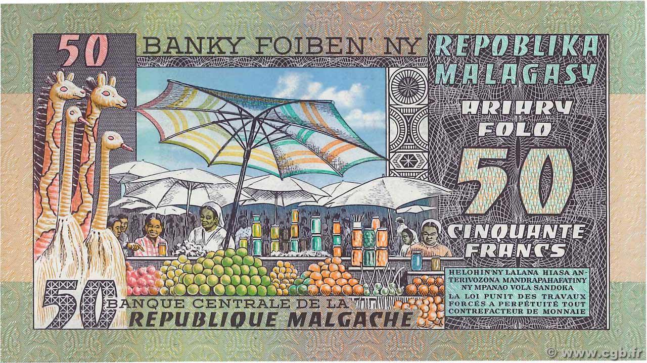 VERSO 50 francs - 10 Ariary Type 1974 Madagascar