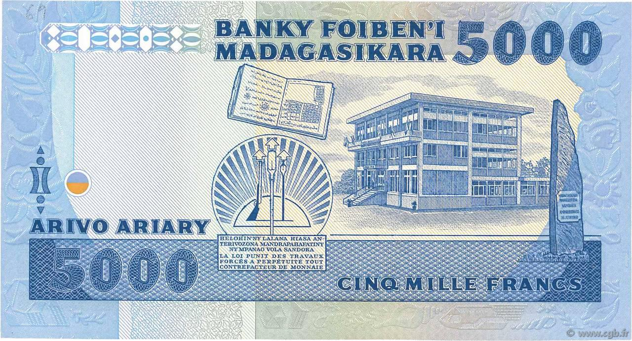 VERSO 5000 francs - 1000 Ariary Type 1983 Madagascar