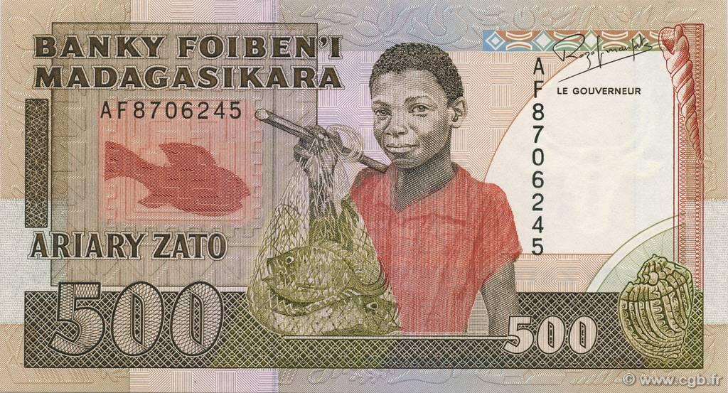 RECTO 500 francs - 100 Ariary Type 1988 Madagascar