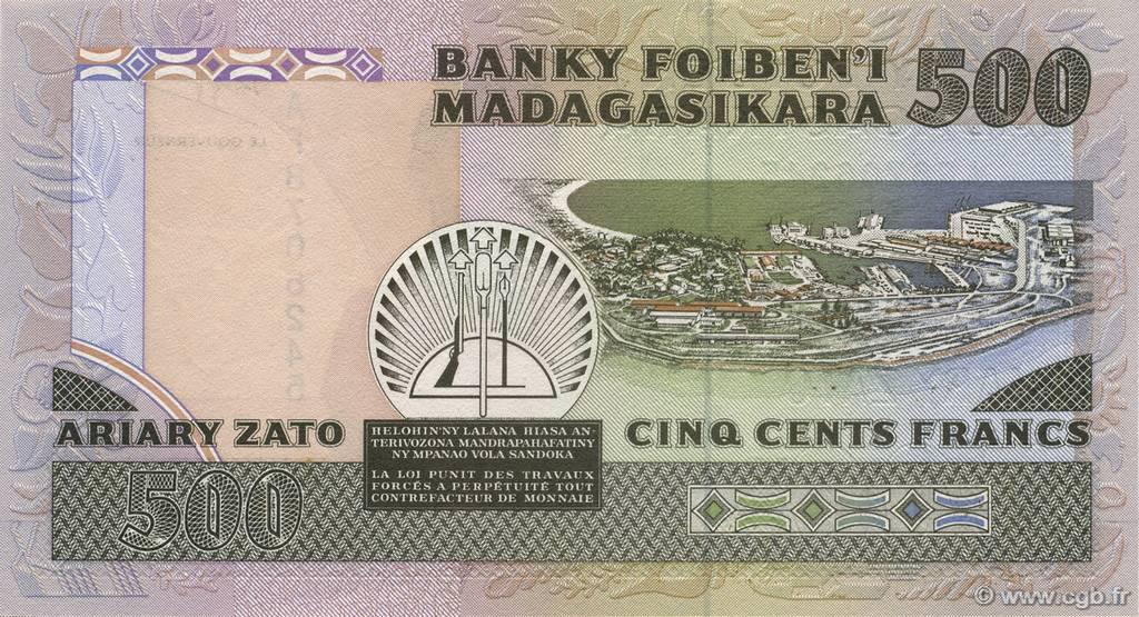VERSO 500 francs - 100 Ariary Type 1988 Madagascar