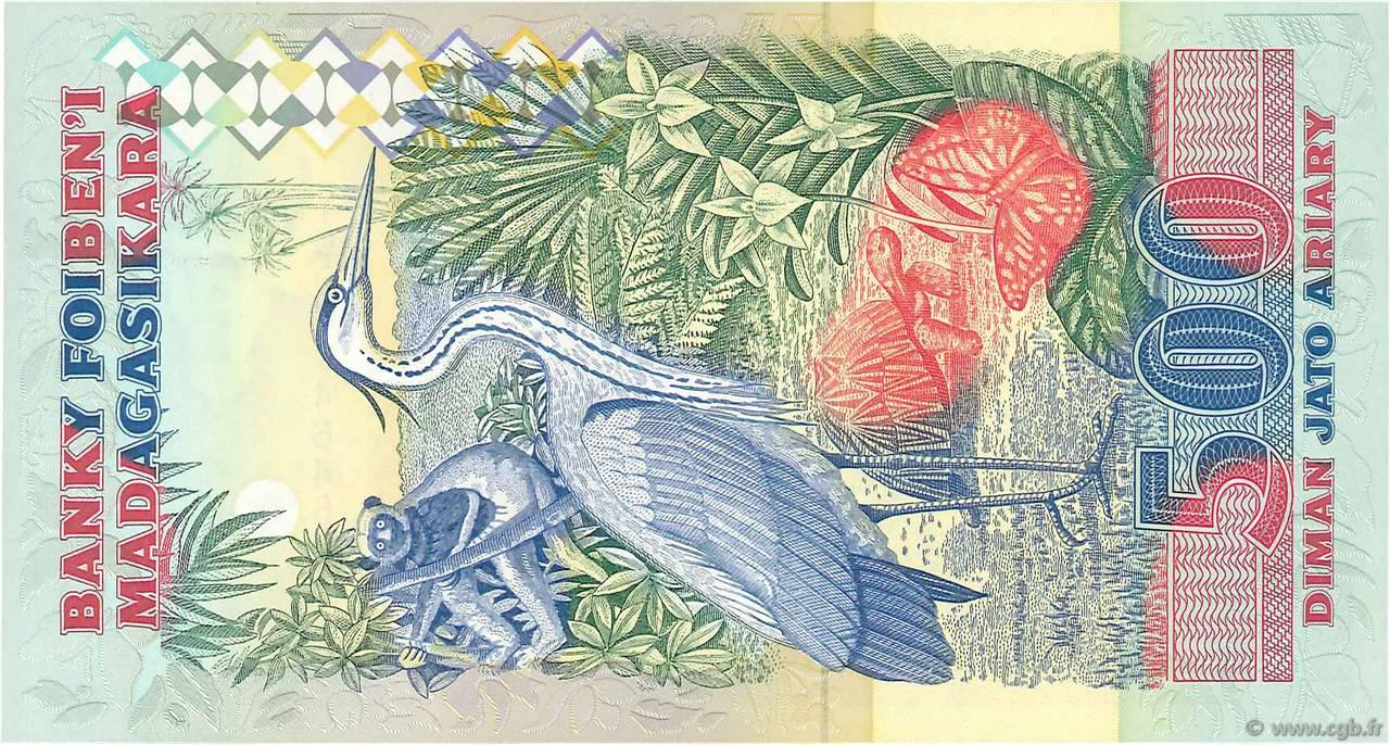 VERSO 2500 francs - 500 Ariary Type 1993 Madagascar