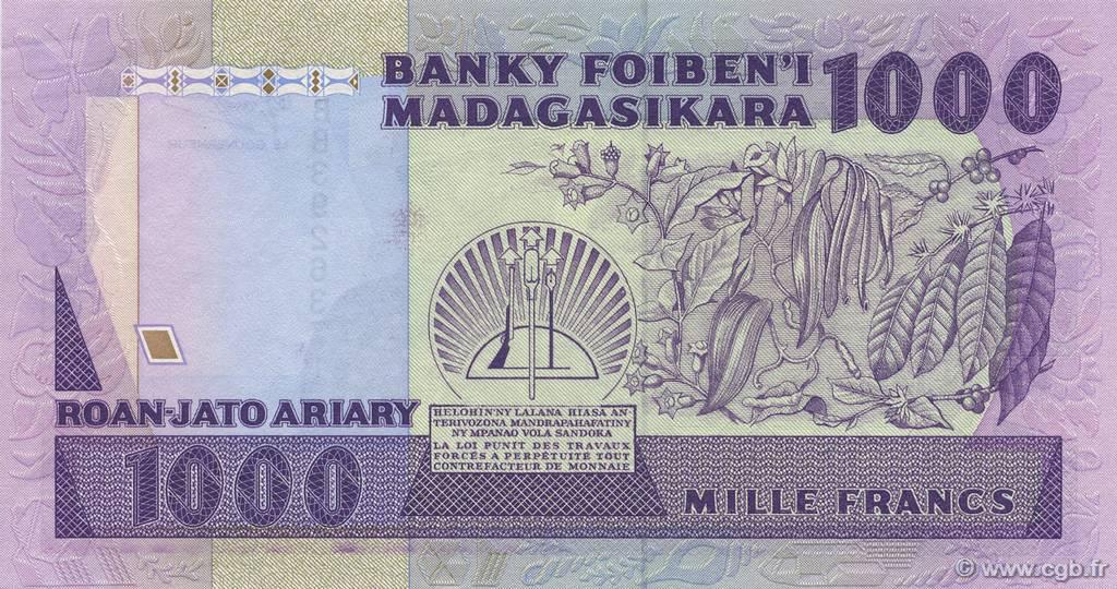 VERSO 1000 francs - 200 Ariary Type 1988 Madagascar