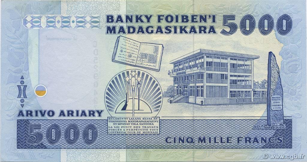 VERSO 5000 francs - 1000 Ariary Type 1988 Madagascar