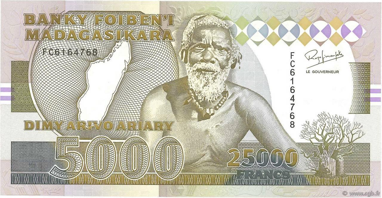 RECTO 25000 francs - 5000 Ariary Type 1993 Madagascar