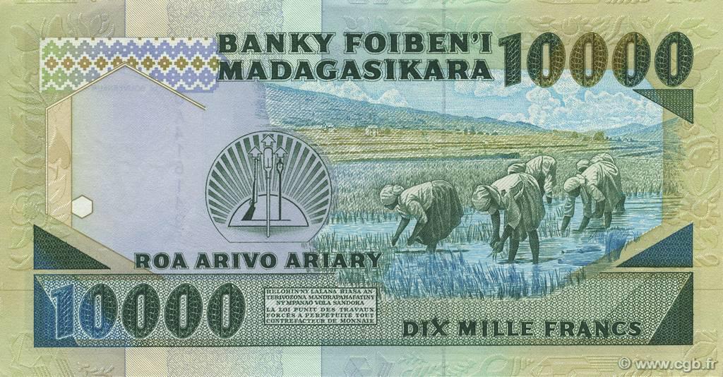 VERSO 10000 francs - 2000 Ariary Type 1988 Madagascar