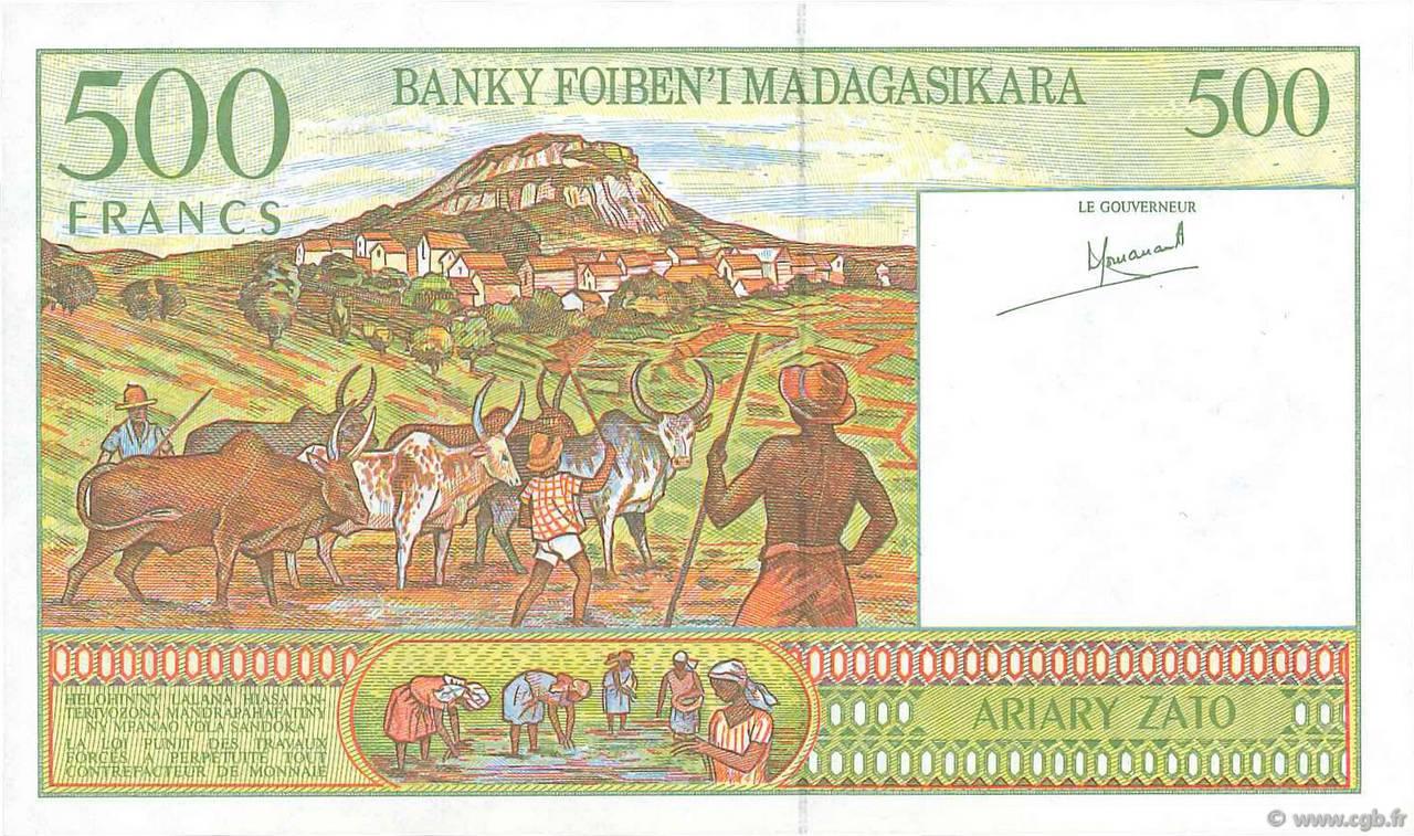 VERSO 500 francs - 100 Ariary Type 1994 Madagascar
