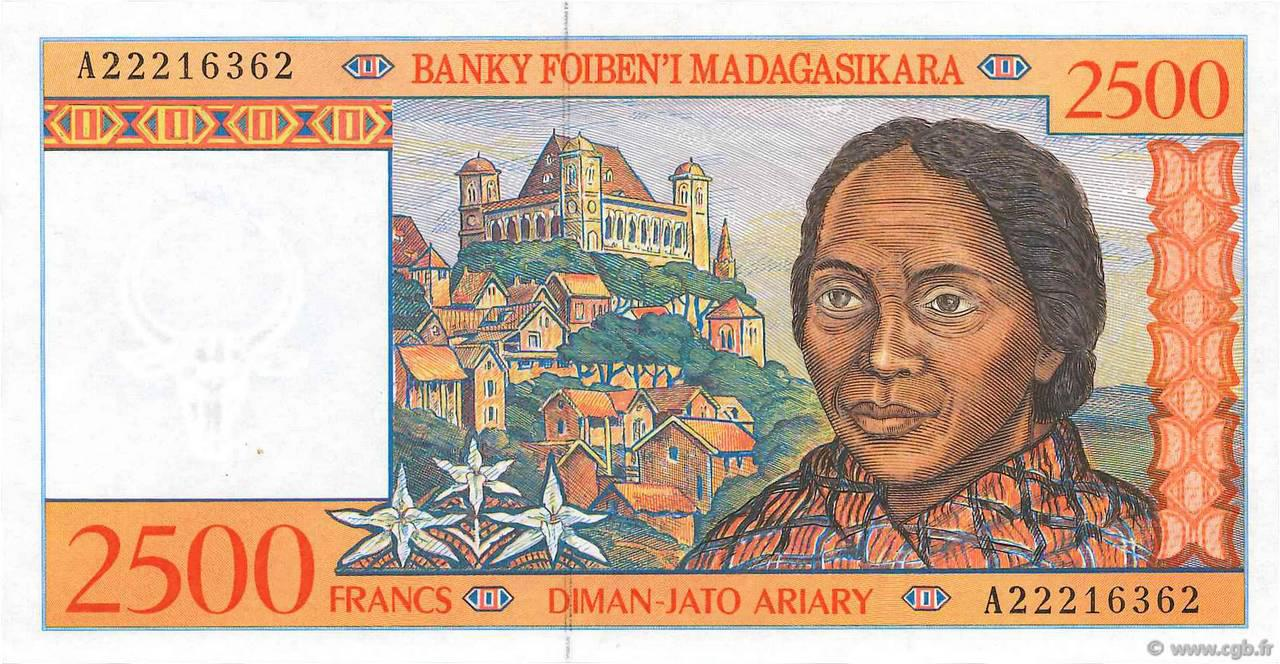 RECTO 2500 francs - 500 Ariary Type 1998 Madagascar