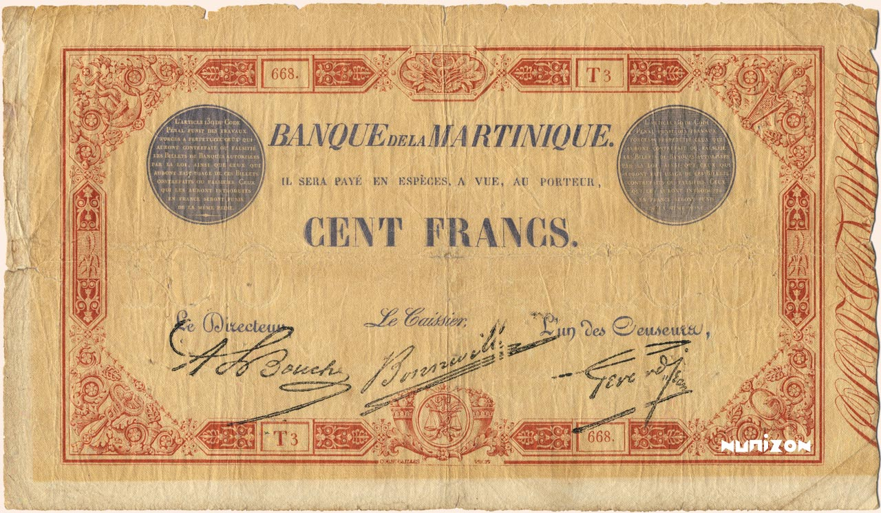 RECTO 100 francs Red and Blue Type 1852