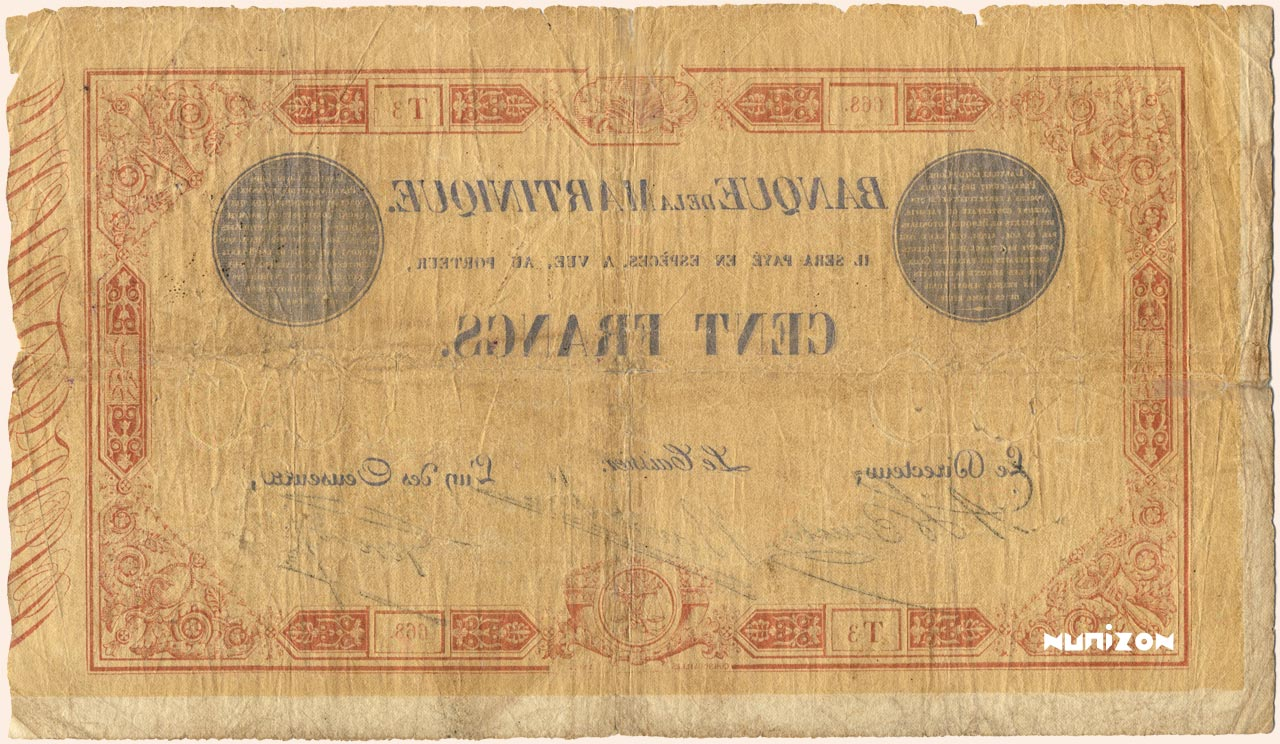 VERSO 100 francs Red and Blue Type 1852