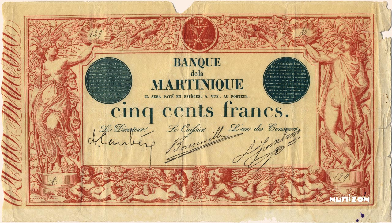 RECTO 500 francs Red and Black Type 1852