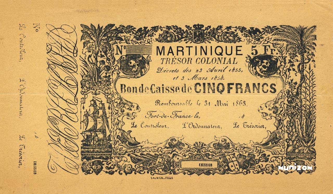 RECTO 5 francs Colonial Treasury Type 1858