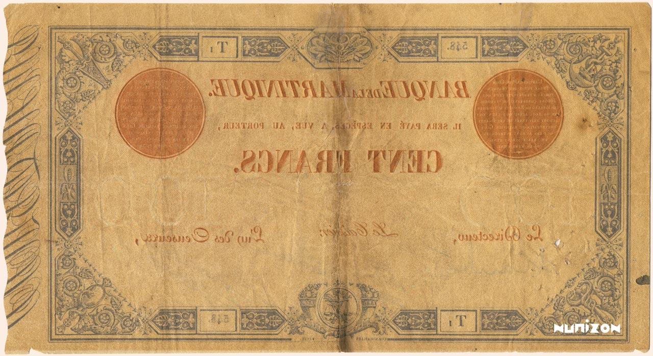VERSO 100 francs Blue and Red Type 1874