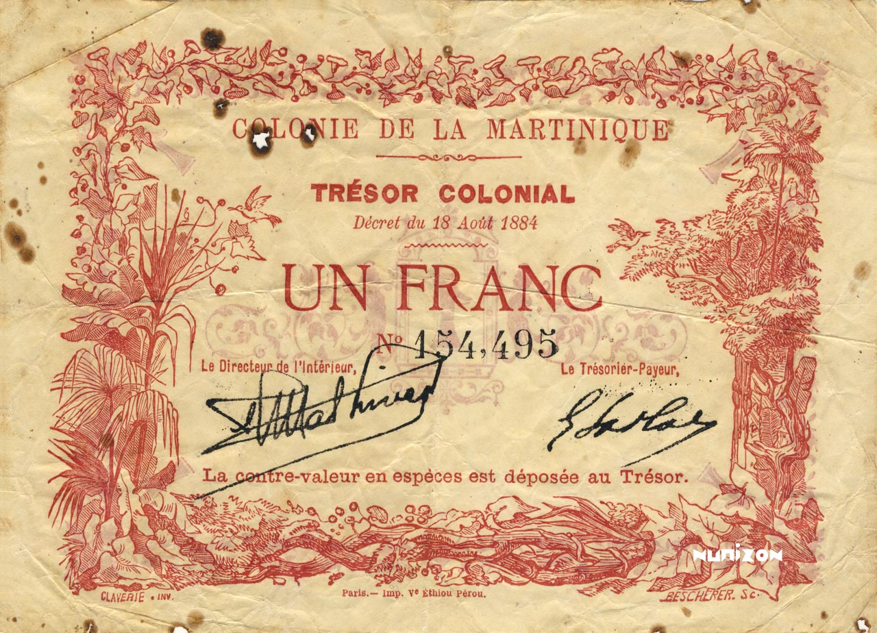 RECTO 1 franc Colonial Treasury Type 1884