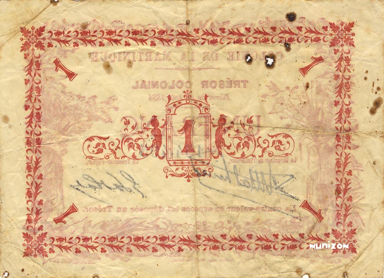 VERSO 1 franc Colonial Treasury Type 1884