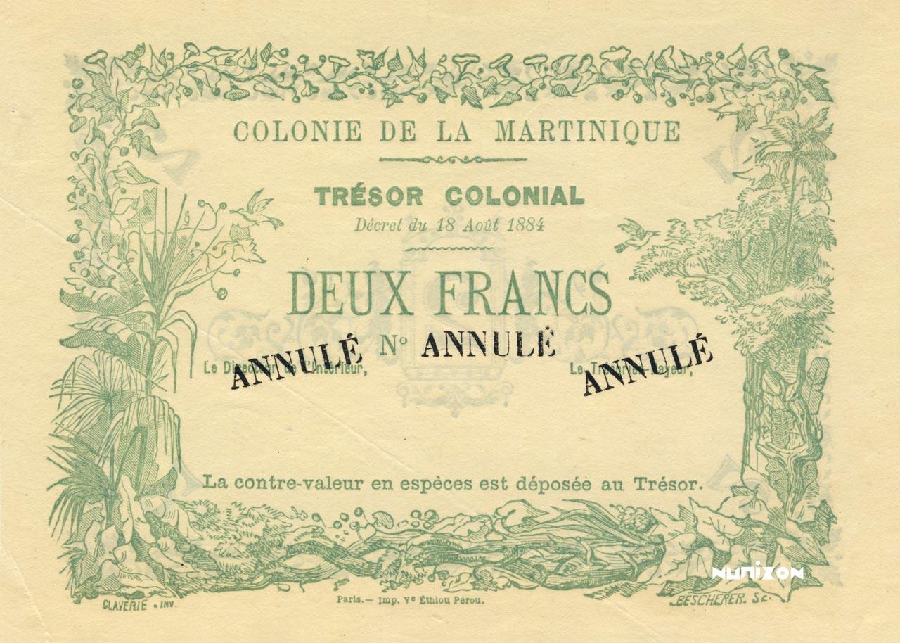 RECTO 2 francs Colonial Treasury Type 1884