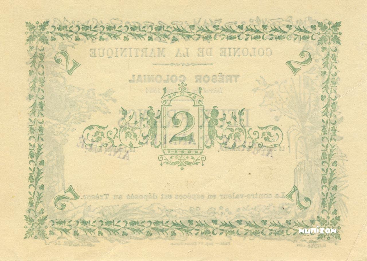 VERSO 2 francs Colonial Treasury Type 1884